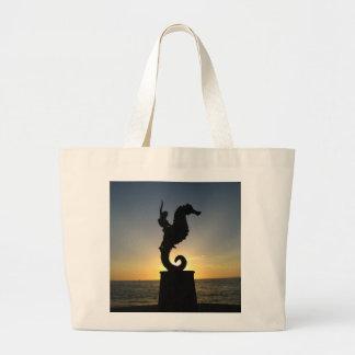 Boy Riding Seahorse Large Tote Bag