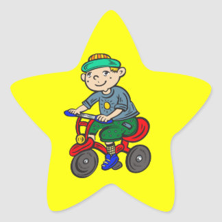 Boy Riding Tricycle Star Stickers