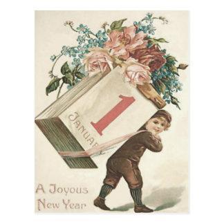 Boy Rose Calendar Forget-Me-Not Postcard