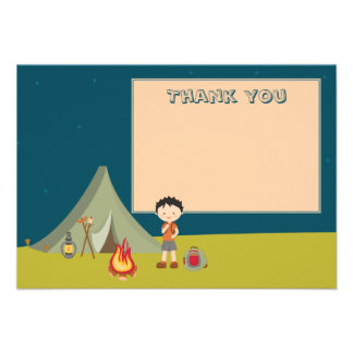 Boy s camping birthday party thank you flat cards