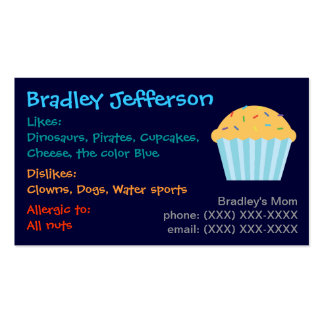 Boy s Cupcake Mommy Card Business Cards