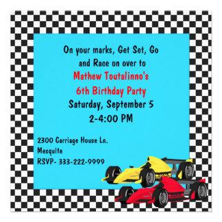 Boy s Race Cars Birthday Party Invitation