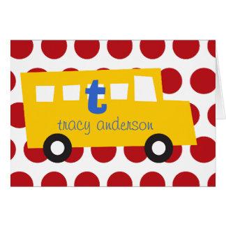 Boy s Toys Fun Cute Yellow Bus Thank You Note Card