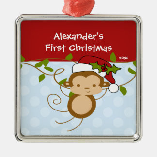 Boy Santa Monkey Baby's First Christmas Ornament