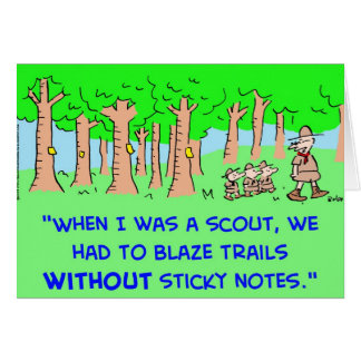 BOY SCOUTS BLAZE TRAIL STICKY NOTES GREETING CARD