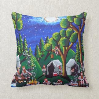 Boy Scouts Camp Out Folk Art 20 x 20 Throw Pillow