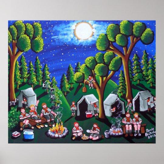 Boy Scouts Camp Out Folk Art Poster