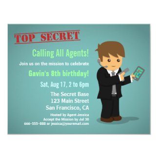 Boy Secret Agent Birthday Party 11 Cm X 14 Cm Invitation Card