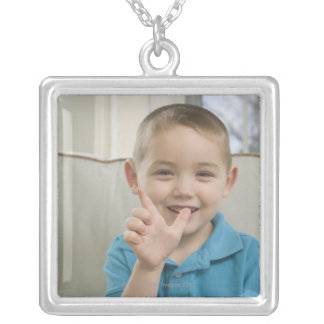 Boy signing the letter 'L' in American sign Square Pendant Necklace