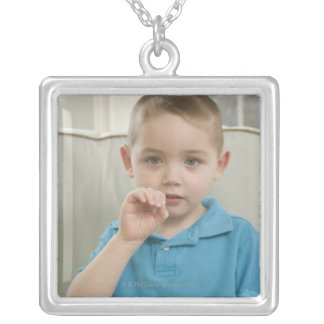 Boy signing the letter 'O' in American sign Square Pendant Necklace
