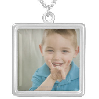 Boy signing the number '8' in American sign Personalized Necklace