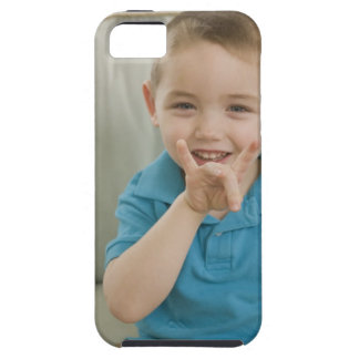 Boy signing the number '8' in American sign Tough iPhone 5 Case