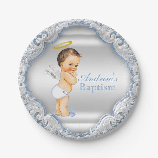 Boy Silver Blue Angel Baptism Paper Plate