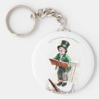 Boy Singing Irish Song Vintage St Patrick's Day Basic Round Button Key Ring