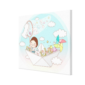 Boy sitting in paper boat canvas print