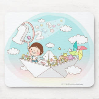 Boy sitting in paper boat mouse mat