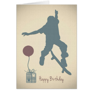 Boy Skateboarding Birthday Card