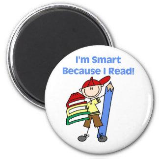 Boy Smart Because I Read 6 Cm Round Magnet