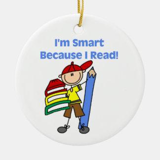 Boy Smart Because I Read Round Ceramic Decoration