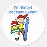 Boy Smart Because I Read Round Sticker