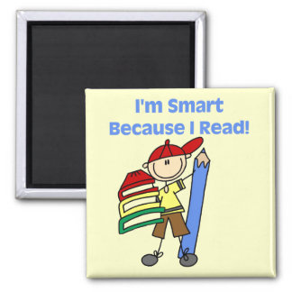 Boy Smart Because I Read Tshirts and Gifts Magnets