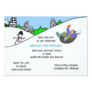 BOY Snow tubing winter birthday party invite