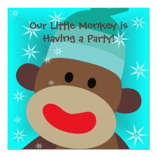 Boy Sock Monkey Birthday Invitation