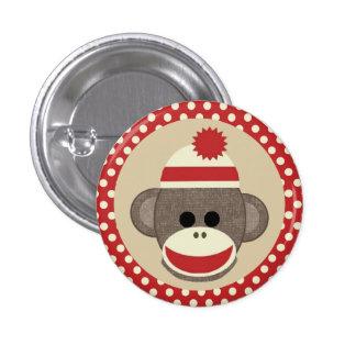 Boy Sock Monkey round pin button