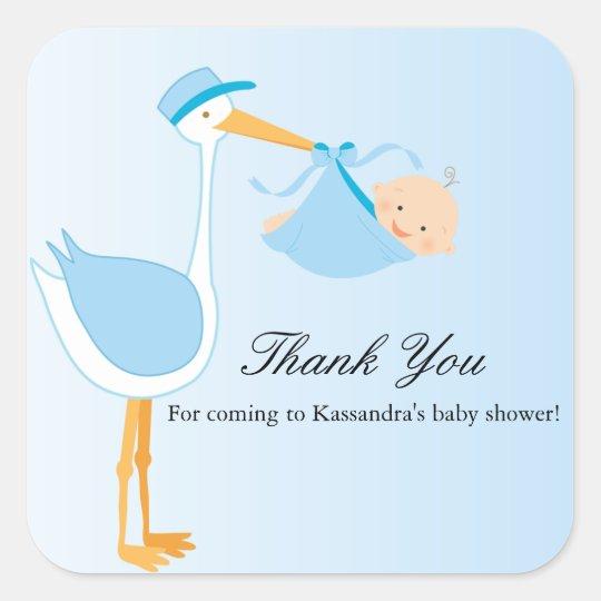 Boy Special Delivery Stork Baby Shower Sticker