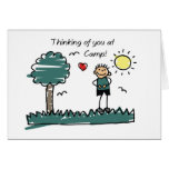 Boy Stick Figure Summer Camp Thinking of You Cards