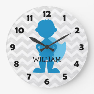 Boy Superhero Blue Personalized Gray Chevron Kids Clocks