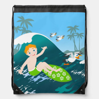 Boy surfing big wave and seagulls drawstring bag