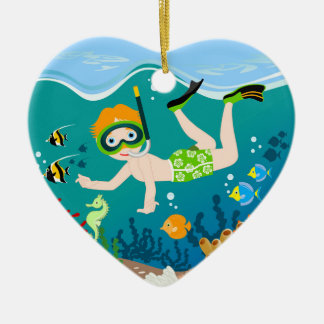 Boy swimmer has a birthday party christmas ornament