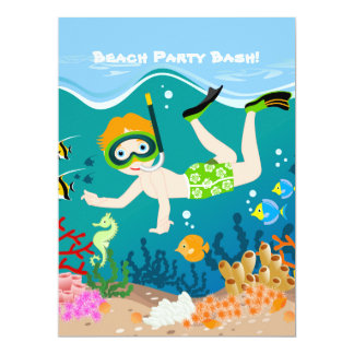 Boy swimming and diving with tropical fish 6.5x8.75 paper invitation card