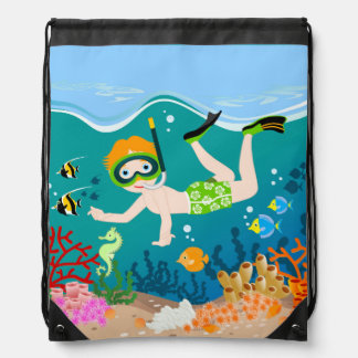 Boy swimming and diving with tropical fish drawstring bags