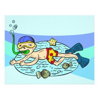 Boy Swimming With Fish 21.5 Cm X 28 Cm Flyer