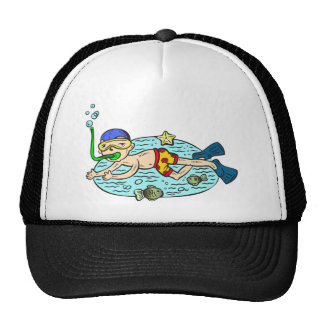 Boy Swimming With Fish Cap