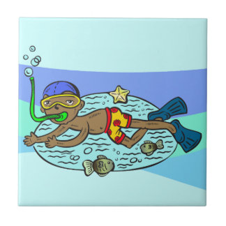 Boy Swimming With Fish Small Square Tile