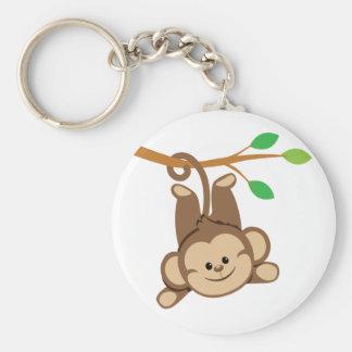 Boy Swinging Monkey Basic Round Button Key Ring