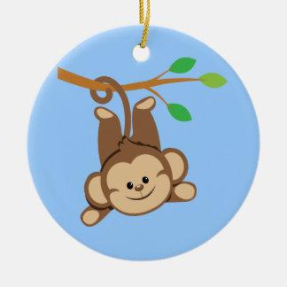 Boy Swinging Monkey Double-Sided Ceramic Round Christmas Ornament