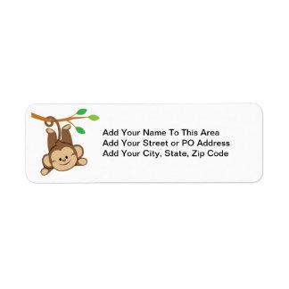 Boy Swinging Monkey Return Address Label