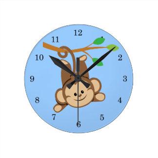 Boy Swinging Monkey Wall Clocks