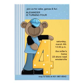 Boy Teddy 4 Year Old - Birthday Party Invitation