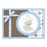 Boy Teddy Bear Baby Shower Invitation Card Personalized Invite