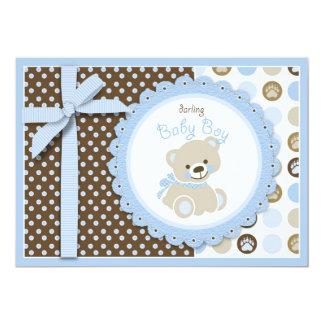 Boy Teddy Bear Blank Card 13 Cm X 18 Cm Invitation Card