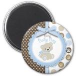 Boy Teddy Bear Round Magnet