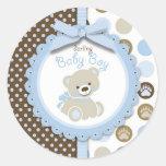 Boy Teddy Bear Round Sticker Sticker