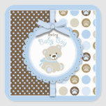 Boy Teddy Bear Square Sticker Sticker