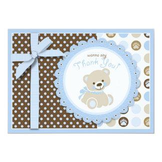 Boy Teddy Bear Thank You Card 13 Cm X 18 Cm Invitation Card