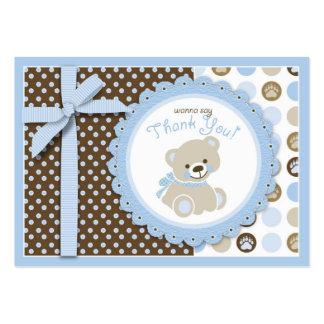 Boy Teddy Bear Thank You Gift Tag Business Card Templates